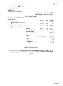 COE Payment Receipt from LTA