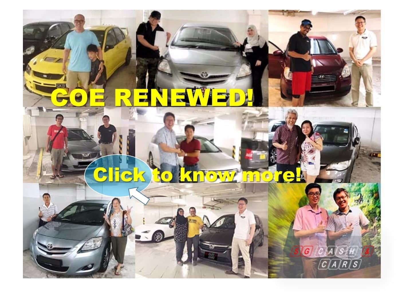 COE Renewed Customers! All Happy They Chose SG Cash N Cars!